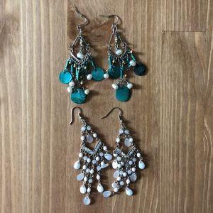 2 Pair Drop Earrings